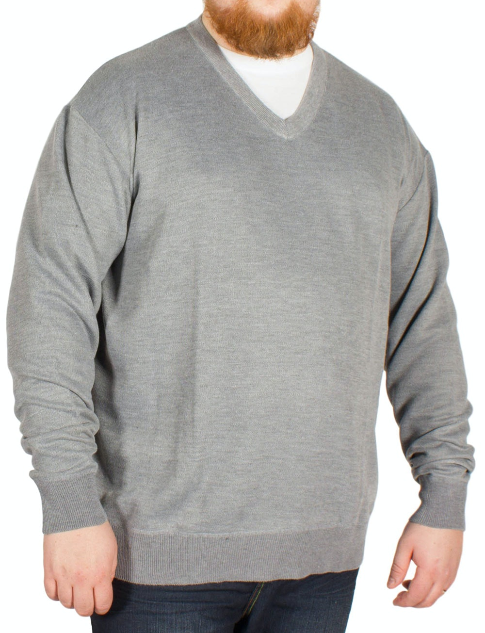 Pierre Roche V Neck Knitted Jumper Grey