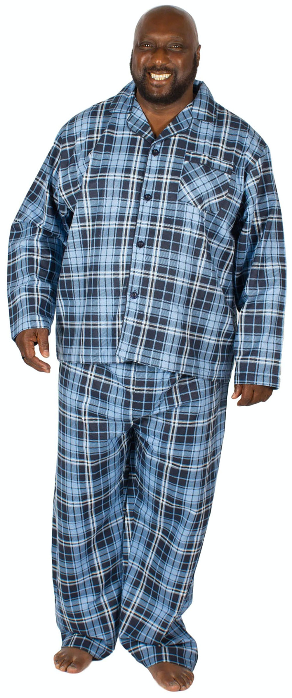 Cargo Bay Cotton Pyjama Set Blue Check