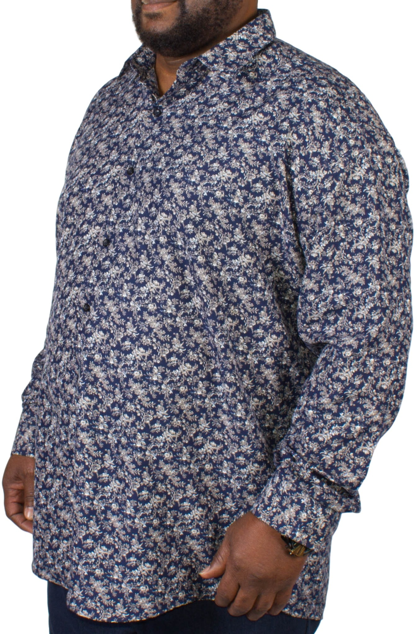 Fitzgerald Navy Floral Long Sleeved Shirt