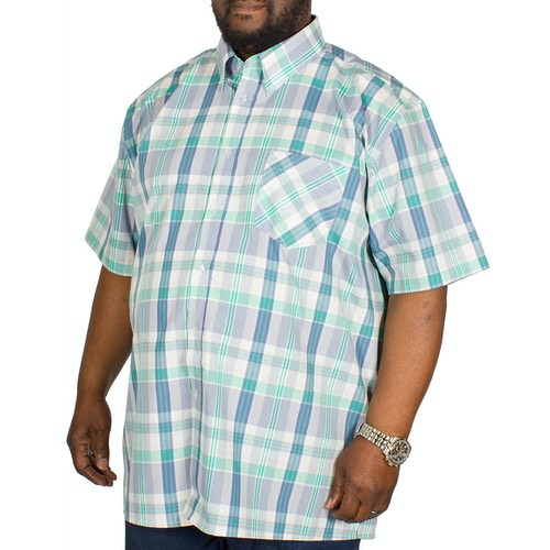 KAM Check Short Sleeved Shirt Green/Blue